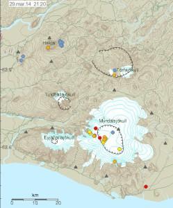 Skjálftar í eldstöðvum á Suðurlandi undanfarinn sólarhring.  Myndin er fengin af vef Veðurstofu Íslands.