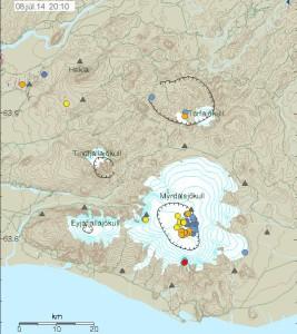 Skjálftar í Kötlu undanfarna sólarhringa.  Myndin er fengin af vef Veðurstofu Íslands.