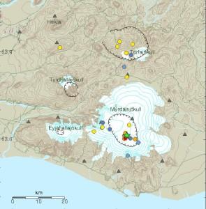 Jarðskjálftar í Kötlu og á Torfajökulssvæðinu undanfarna sólarhringa.  Myndin er fengin af vef Veðurstofu Íslands.