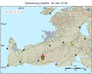 Upptök jarðskjálftanna við Krýsuvík.  Myndin er fengin af vef Veðurstofu Íslands.