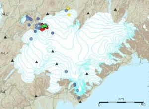 Myndin er fengin af vef Veðurstofu Íslands og sýnir upptök skjálfta í Vatnajökli síðustu sólarhringa.